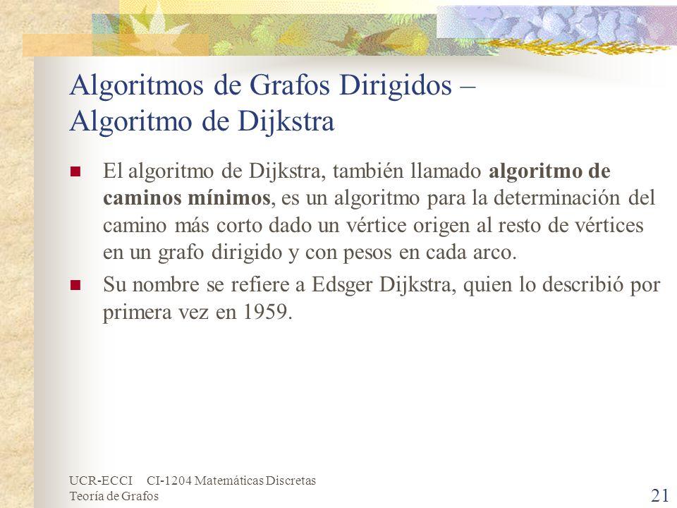 UCR-ECCI CI-1204 Matemáticas Discretas Teoría de Grafos Algoritmos de Grafos Dirigidos – Algoritmo de Dijkstra El algoritmo de Dijkstra, también llama
