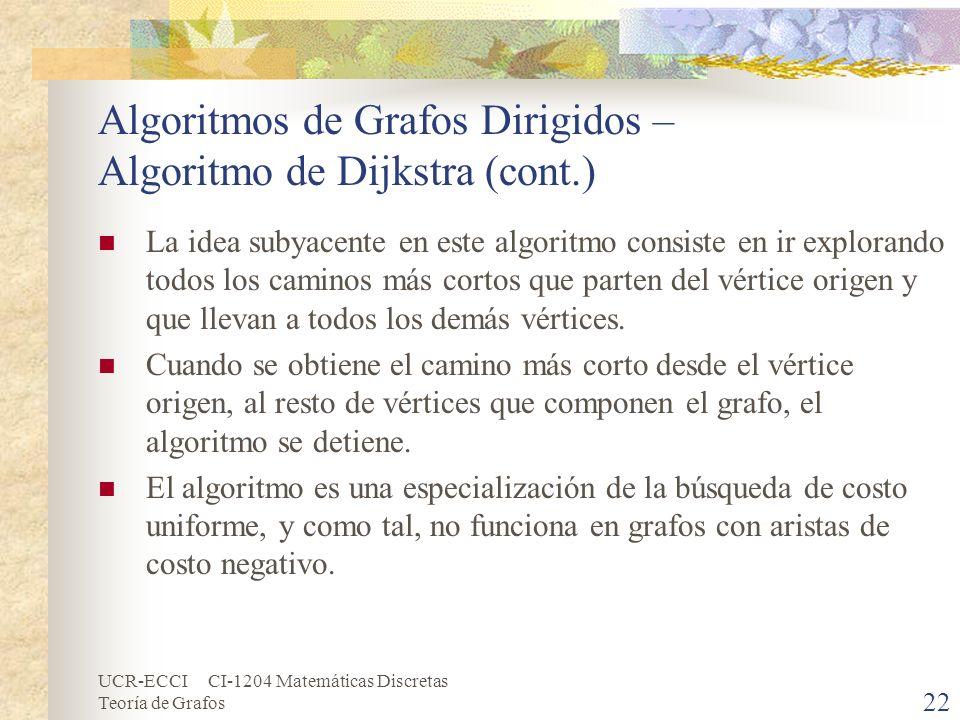 UCR-ECCI CI-1204 Matemáticas Discretas Teoría de Grafos Algoritmos de Grafos Dirigidos – Algoritmo de Dijkstra (cont.) La idea subyacente en este algo