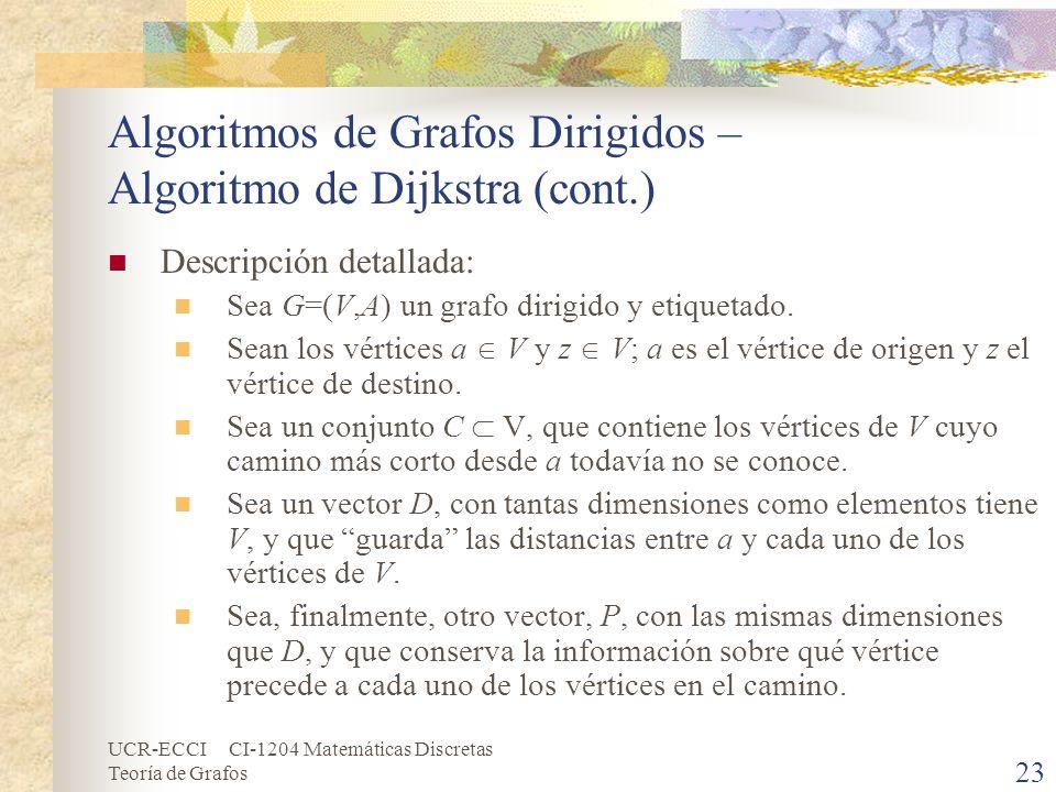 UCR-ECCI CI-1204 Matemáticas Discretas Teoría de Grafos Algoritmos de Grafos Dirigidos – Algoritmo de Dijkstra (cont.) Descripción detallada: Sea G=(V