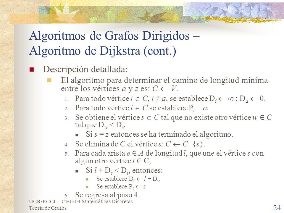 UCR-ECCI CI-1204 Matemáticas Discretas Teoría de Grafos Algoritmos de Grafos Dirigidos – Algoritmo de Dijkstra (cont.) Descripción detallada: El algor