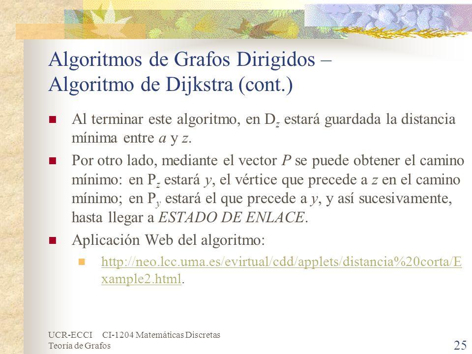 UCR-ECCI CI-1204 Matemáticas Discretas Teoría de Grafos Algoritmos de Grafos Dirigidos – Algoritmo de Dijkstra (cont.) Al terminar este algoritmo, en