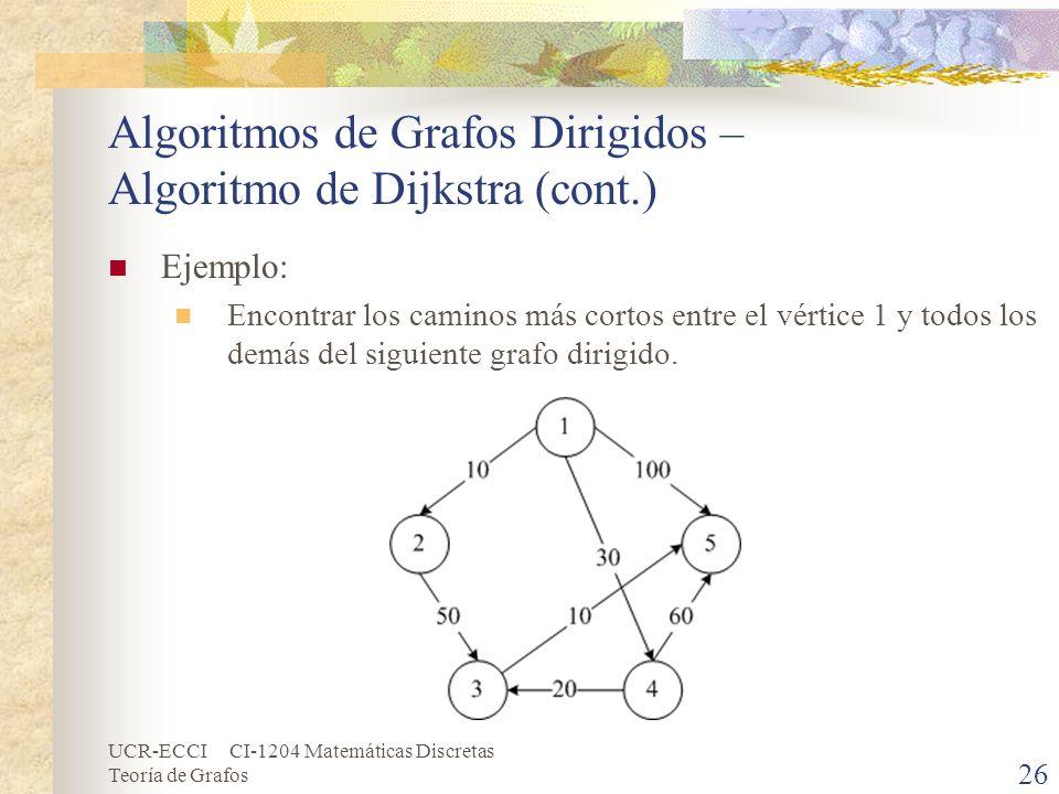 UCR-ECCI CI-1204 Matemáticas Discretas Teoría de Grafos Algoritmos de Grafos Dirigidos – Algoritmo de Dijkstra (cont.) Ejemplo: Encontrar los caminos
