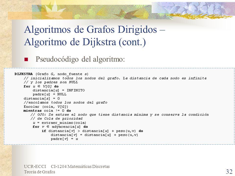 UCR-ECCI CI-1204 Matemáticas Discretas Teoría de Grafos Algoritmos de Grafos Dirigidos – Algoritmo de Dijkstra (cont.) Pseudocódigo del algoritmo: 32