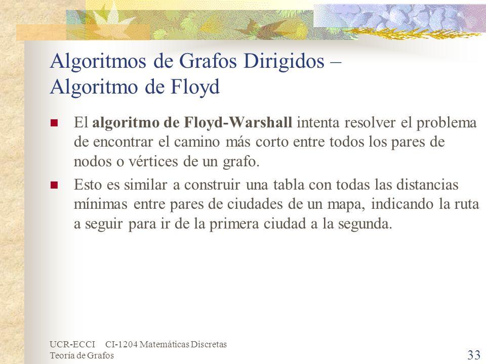 UCR-ECCI CI-1204 Matemáticas Discretas Teoría de Grafos Algoritmos de Grafos Dirigidos – Algoritmo de Floyd El algoritmo de Floyd-Warshall intenta res
