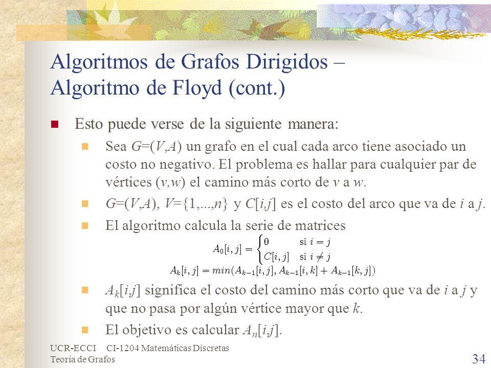 UCR-ECCI CI-1204 Matemáticas Discretas Teoría de Grafos Algoritmos de Grafos Dirigidos – Algoritmo de Floyd (cont.) Esto puede verse de la siguiente m