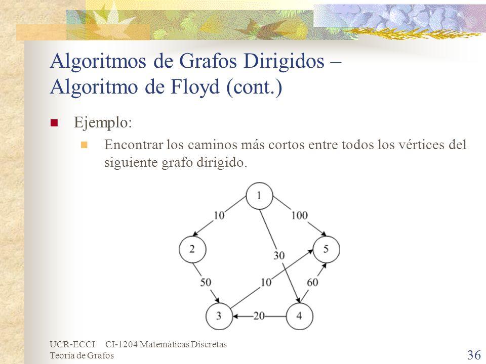 UCR-ECCI CI-1204 Matemáticas Discretas Teoría de Grafos Algoritmos de Grafos Dirigidos – Algoritmo de Floyd (cont.) Ejemplo: Encontrar los caminos más
