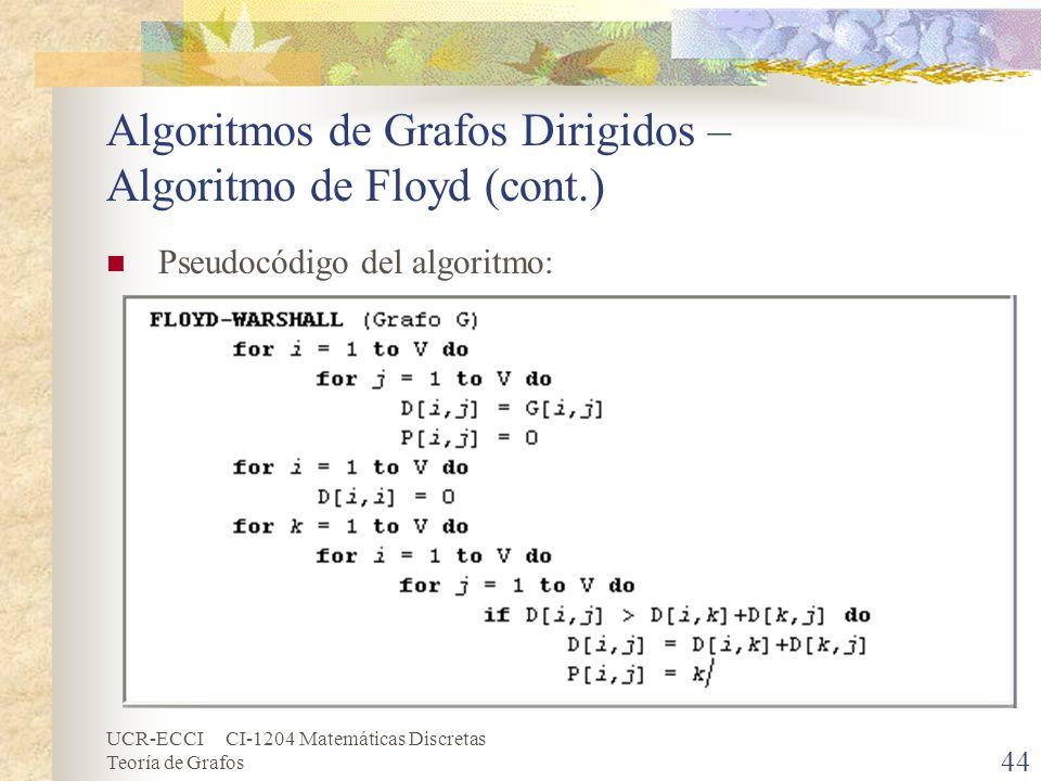 UCR-ECCI CI-1204 Matemáticas Discretas Teoría de Grafos Algoritmos de Grafos Dirigidos – Algoritmo de Floyd (cont.) Pseudocódigo del algoritmo: 44