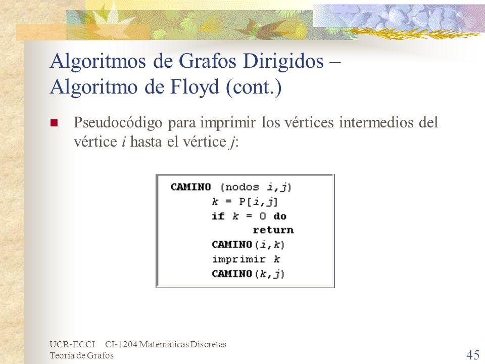 UCR-ECCI CI-1204 Matemáticas Discretas Teoría de Grafos Algoritmos de Grafos Dirigidos – Algoritmo de Floyd (cont.) Pseudocódigo para imprimir los vér