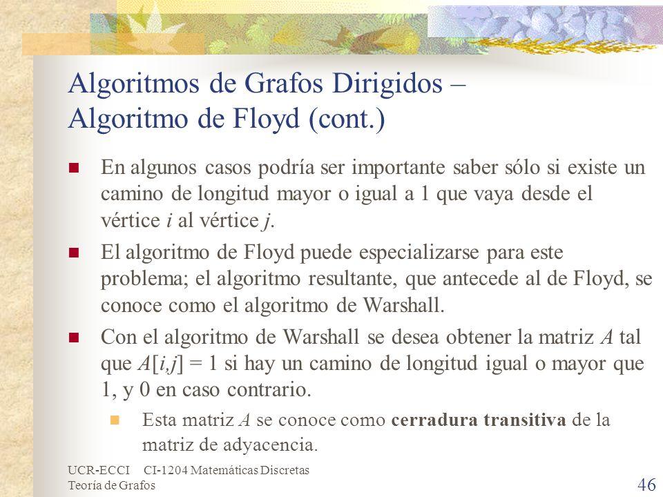 UCR-ECCI CI-1204 Matemáticas Discretas Teoría de Grafos Algoritmos de Grafos Dirigidos – Algoritmo de Floyd (cont.) En algunos casos podría ser import