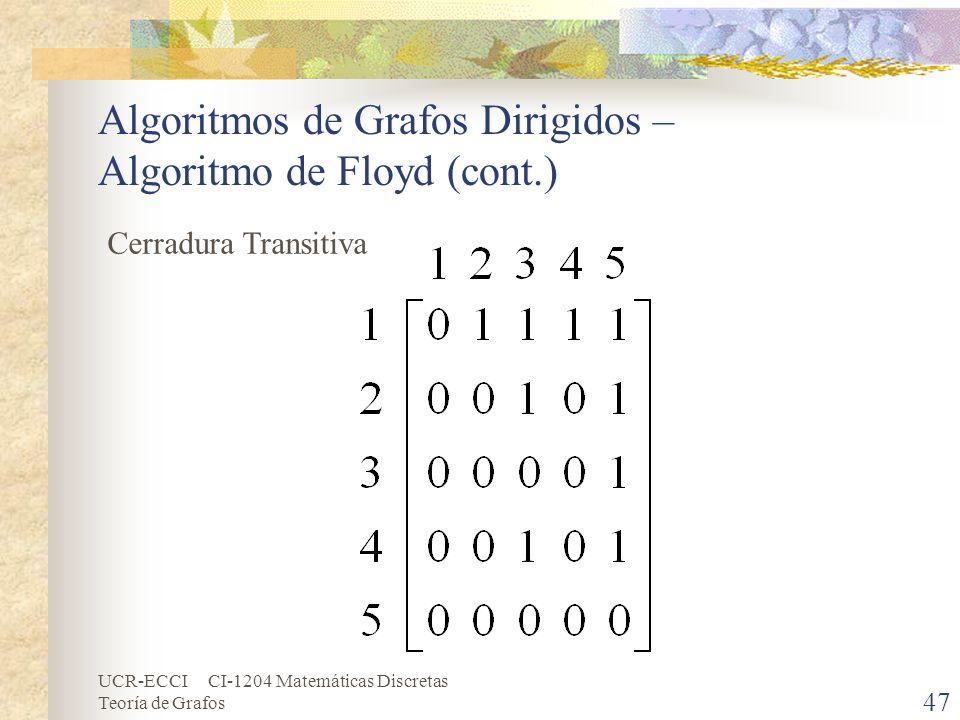 UCR-ECCI CI-1204 Matemáticas Discretas Teoría de Grafos Algoritmos de Grafos Dirigidos – Algoritmo de Floyd (cont.) 47 Cerradura Transitiva