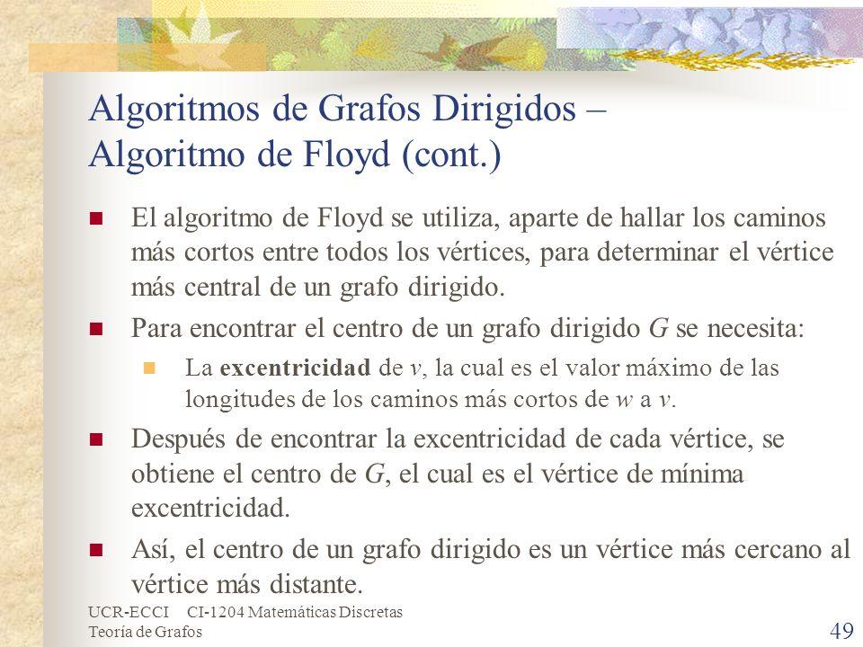 UCR-ECCI CI-1204 Matemáticas Discretas Teoría de Grafos Algoritmos de Grafos Dirigidos – Algoritmo de Floyd (cont.) El algoritmo de Floyd se utiliza,