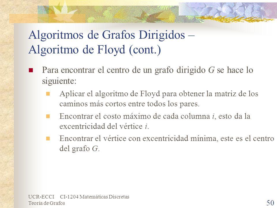UCR-ECCI CI-1204 Matemáticas Discretas Teoría de Grafos Algoritmos de Grafos Dirigidos – Algoritmo de Floyd (cont.) Para encontrar el centro de un gra