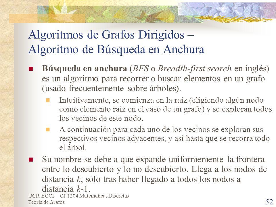 UCR-ECCI CI-1204 Matemáticas Discretas Teoría de Grafos Algoritmos de Grafos Dirigidos – Algoritmo de Búsqueda en Anchura Búsqueda en anchura (BFS o B