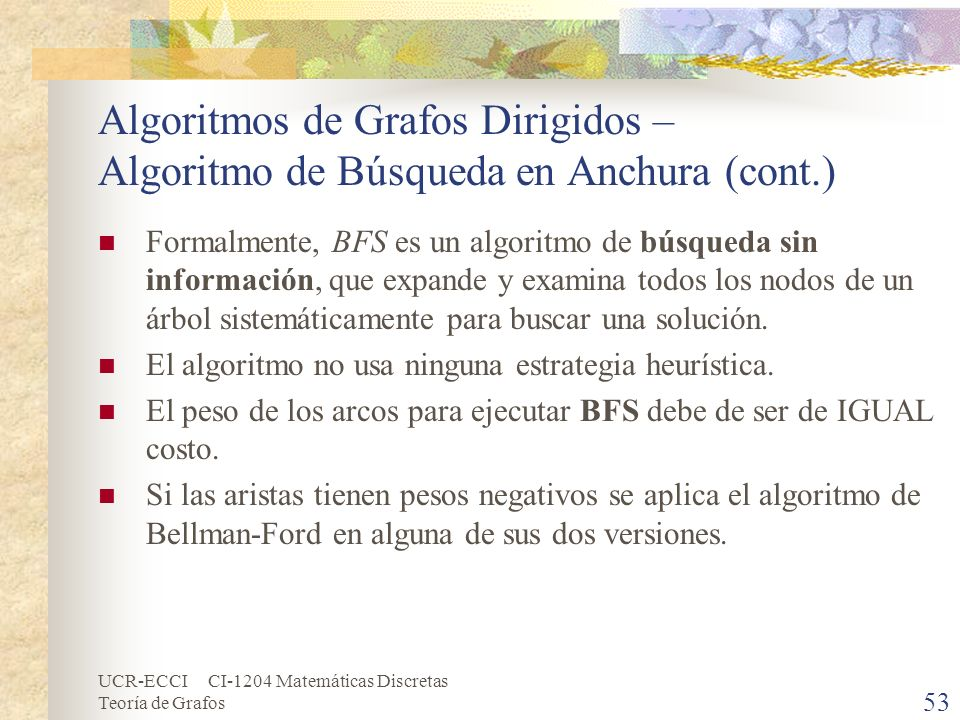 UCR-ECCI CI-1204 Matemáticas Discretas Teoría de Grafos Algoritmos de Grafos Dirigidos – Algoritmo de Búsqueda en Anchura (cont.) Formalmente, BFS es