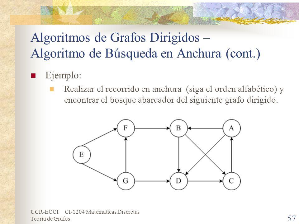 UCR-ECCI CI-1204 Matemáticas Discretas Teoría de Grafos Algoritmos de Grafos Dirigidos – Algoritmo de Búsqueda en Anchura (cont.) Ejemplo: Realizar el