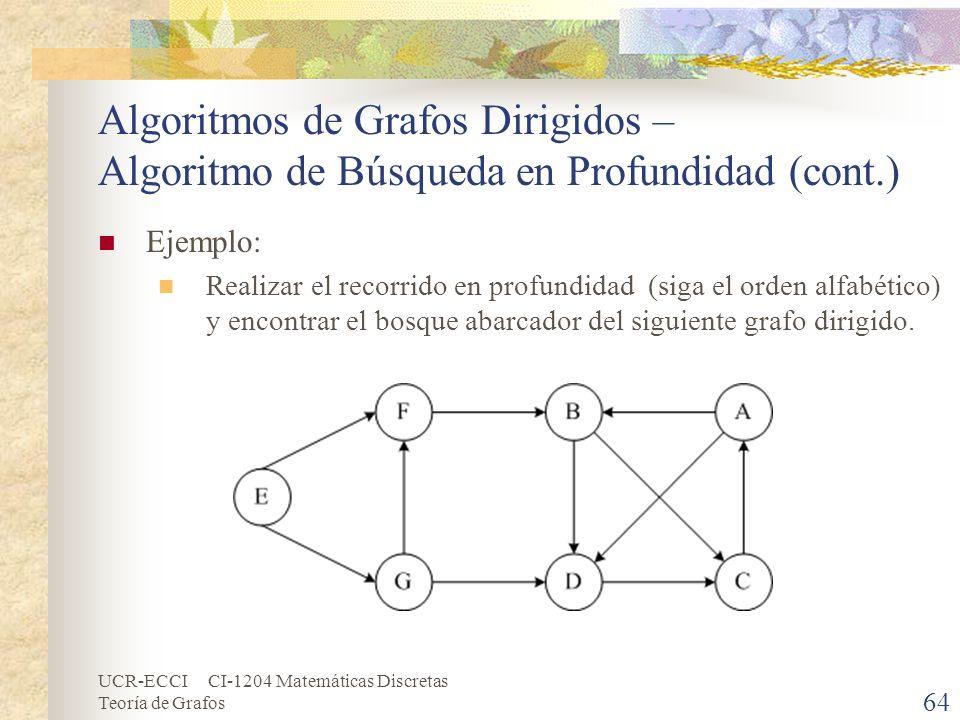 UCR-ECCI CI-1204 Matemáticas Discretas Teoría de Grafos Algoritmos de Grafos Dirigidos – Algoritmo de Búsqueda en Profundidad (cont.) Ejemplo: Realiza