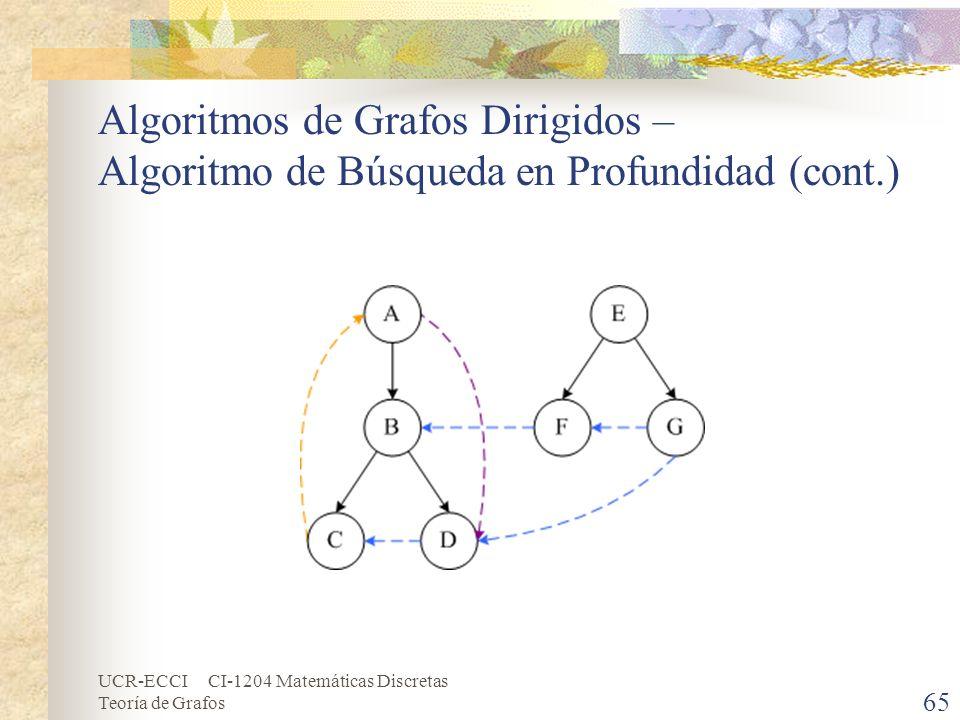 UCR-ECCI CI-1204 Matemáticas Discretas Teoría de Grafos Algoritmos de Grafos Dirigidos – Algoritmo de Búsqueda en Profundidad (cont.) 65