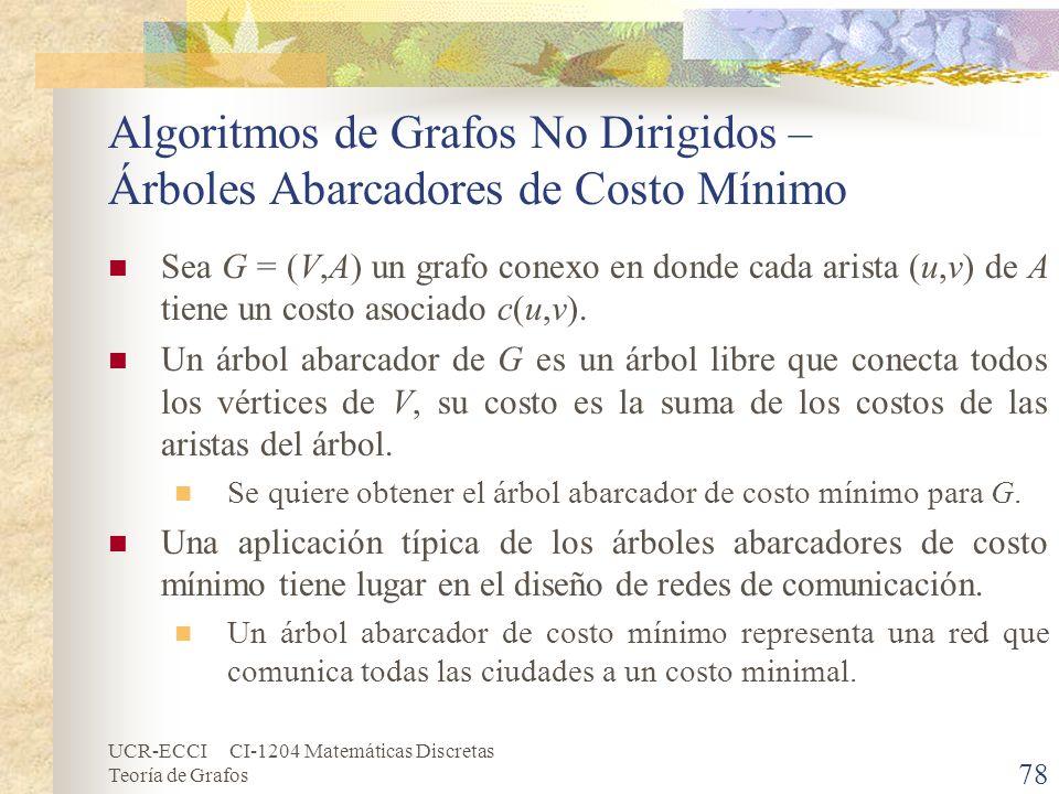 UCR-ECCI CI-1204 Matemáticas Discretas Teoría de Grafos Algoritmos de Grafos No Dirigidos – Árboles Abarcadores de Costo Mínimo Sea G = (V,A) un grafo