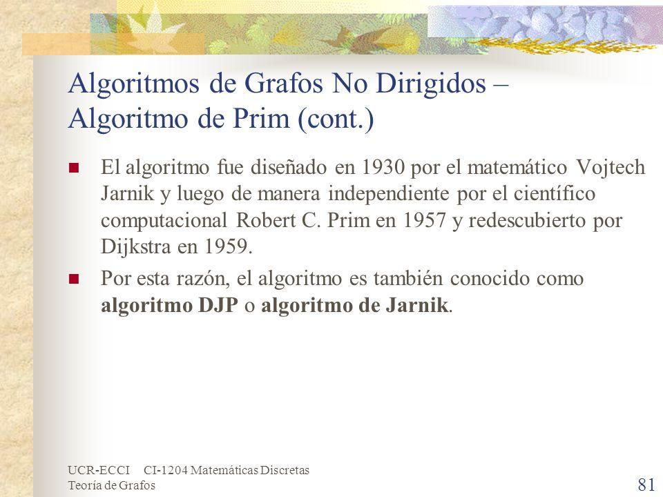 UCR-ECCI CI-1204 Matemáticas Discretas Teoría de Grafos Algoritmos de Grafos No Dirigidos – Algoritmo de Prim (cont.) El algoritmo fue diseñado en 193