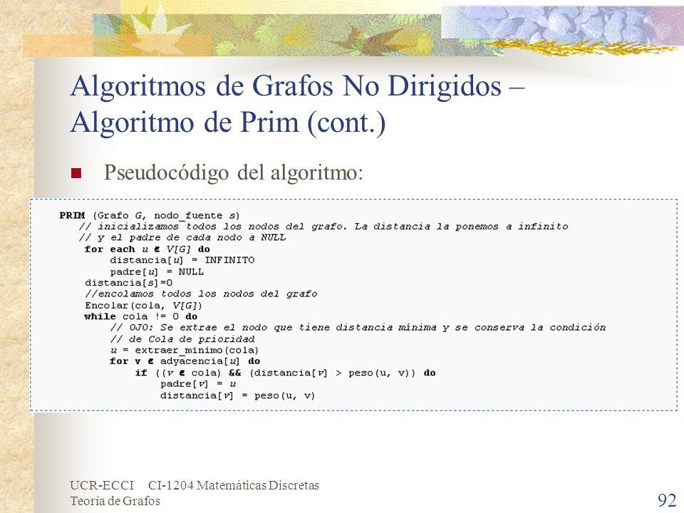 UCR-ECCI CI-1204 Matemáticas Discretas Teoría de Grafos Algoritmos de Grafos No Dirigidos – Algoritmo de Prim (cont.) 92 Pseudocódigo del algoritmo: