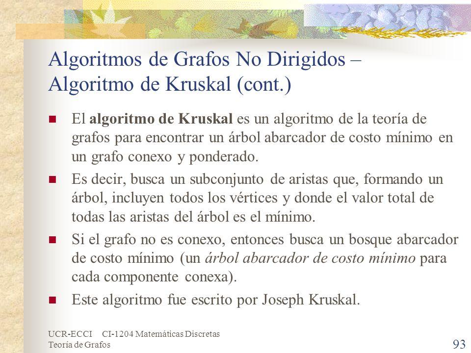 UCR-ECCI CI-1204 Matemáticas Discretas Teoría de Grafos Algoritmos de Grafos No Dirigidos – Algoritmo de Kruskal (cont.) El algoritmo de Kruskal es un