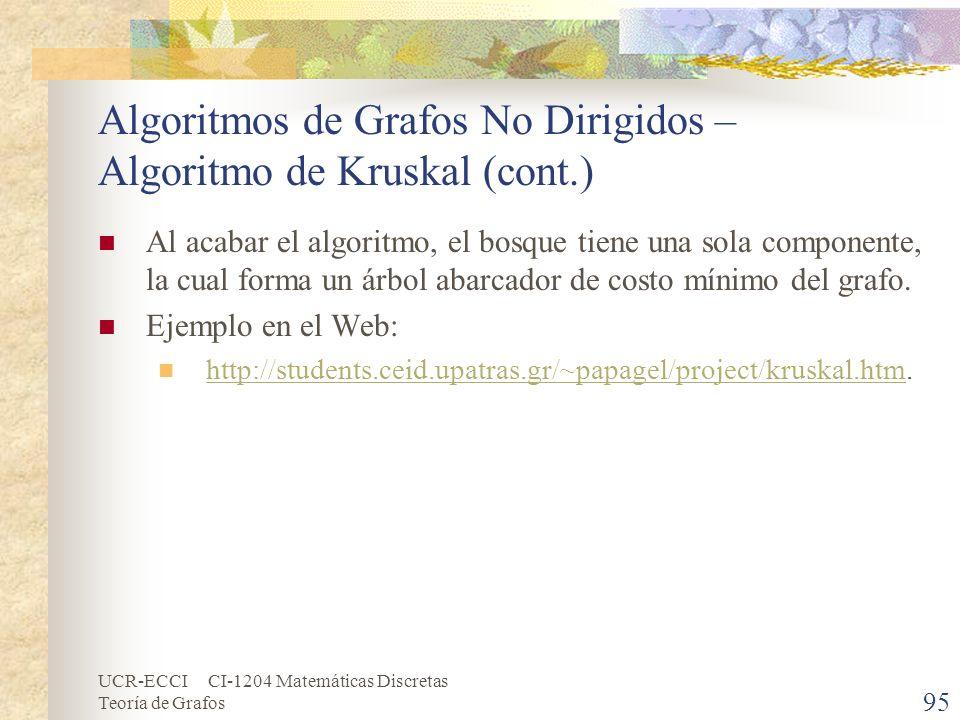 UCR-ECCI CI-1204 Matemáticas Discretas Teoría de Grafos Algoritmos de Grafos No Dirigidos – Algoritmo de Kruskal (cont.) Al acabar el algoritmo, el bo