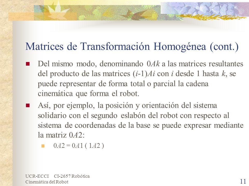 UCR-ECCI CI-2657 Robótica Cinemática del Robot Matrices de Transformación Homogénea (cont.) Del mismo modo, denominando 0Ak a las matrices resultantes