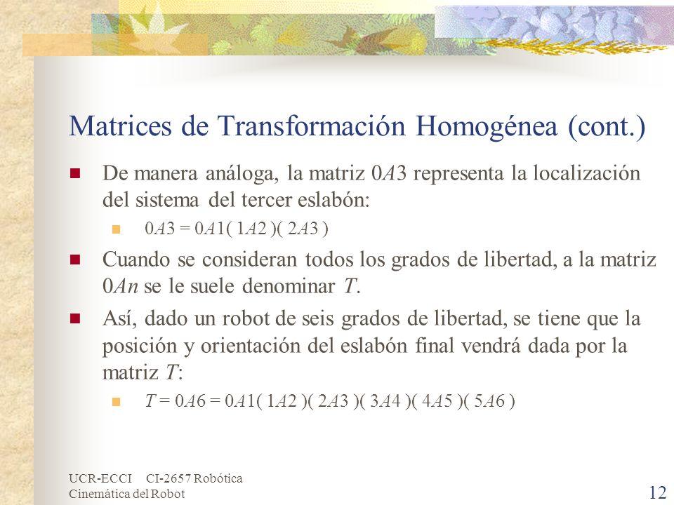 UCR-ECCI CI-2657 Robótica Cinemática del Robot Matrices de Transformación Homogénea (cont.) De manera análoga, la matriz 0A3 representa la localizació