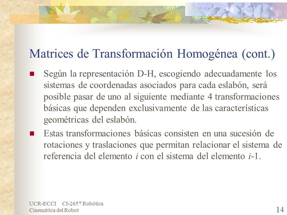 UCR-ECCI CI-2657 Robótica Cinemática del Robot Matrices de Transformación Homogénea (cont.) Según la representación D-H, escogiendo adecuadamente los