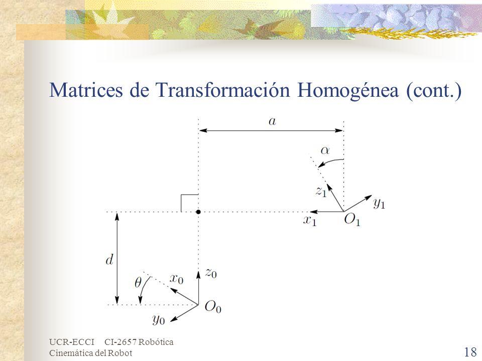 UCR-ECCI CI-2657 Robótica Cinemática del Robot Matrices de Transformación Homogénea (cont.) 18