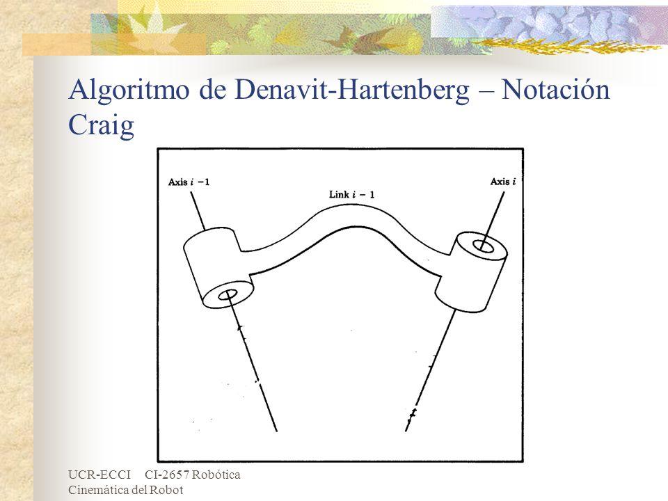UCR-ECCI CI-2657 Robótica Cinemática del Robot Algoritmo de Denavit-Hartenberg – Notación Craig