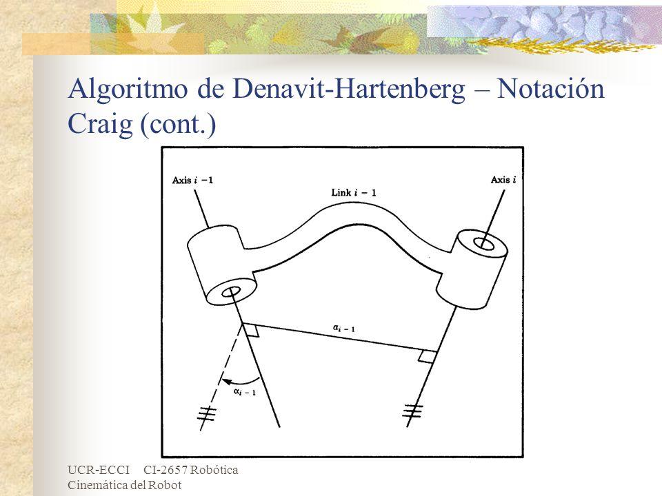 UCR-ECCI CI-2657 Robótica Cinemática del Robot Algoritmo de Denavit-Hartenberg – Notación Craig (cont.)