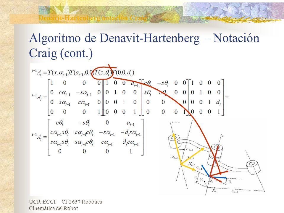 UCR-ECCI CI-2657 Robótica Cinemática del Robot Algoritmo de Denavit-Hartenberg – Notación Craig (cont.) Denavit-Hartenberg notación Craig