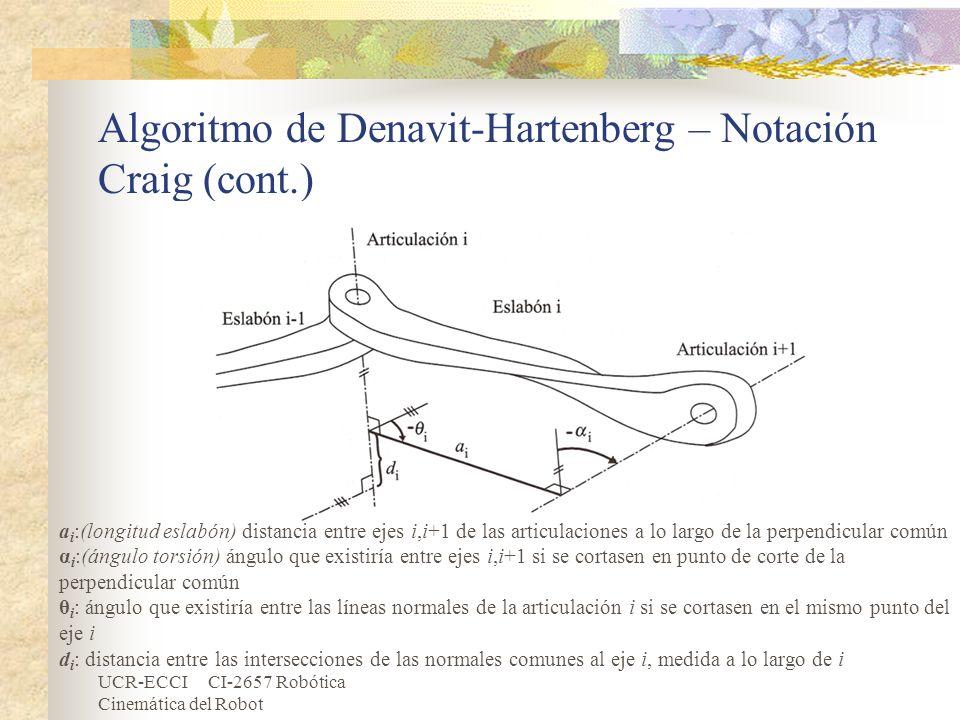 UCR-ECCI CI-2657 Robótica Cinemática del Robot Algoritmo de Denavit-Hartenberg – Notación Craig (cont.) a i :(longitud eslabón) distancia entre ejes i