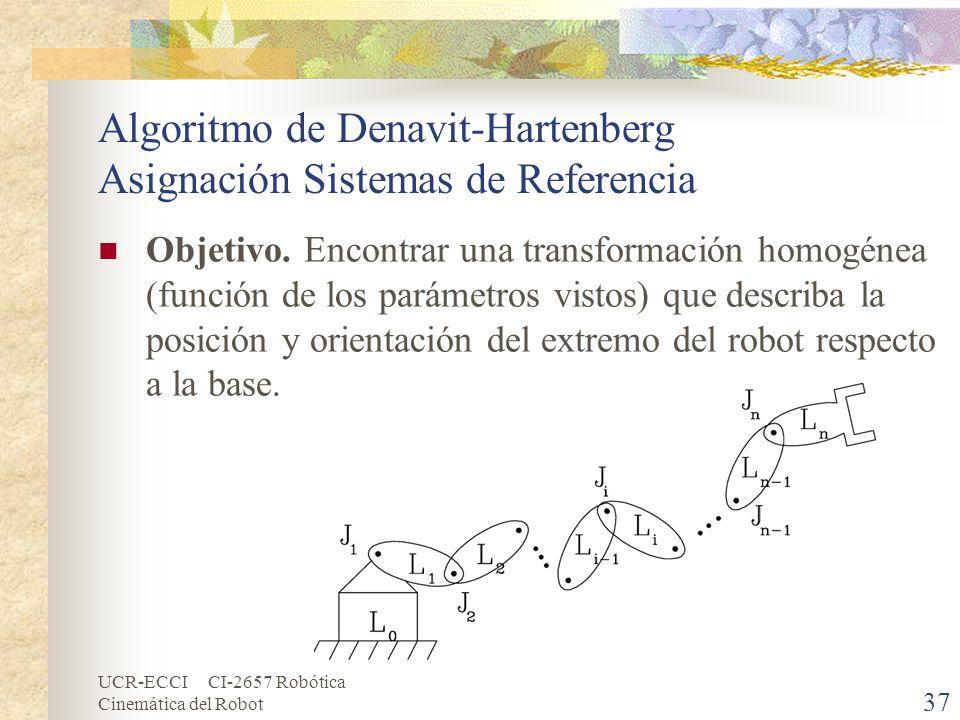 UCR-ECCI CI-2657 Robótica Cinemática del Robot Algoritmo de Denavit-Hartenberg Asignación Sistemas de Referencia Objetivo. Encontrar una transformació
