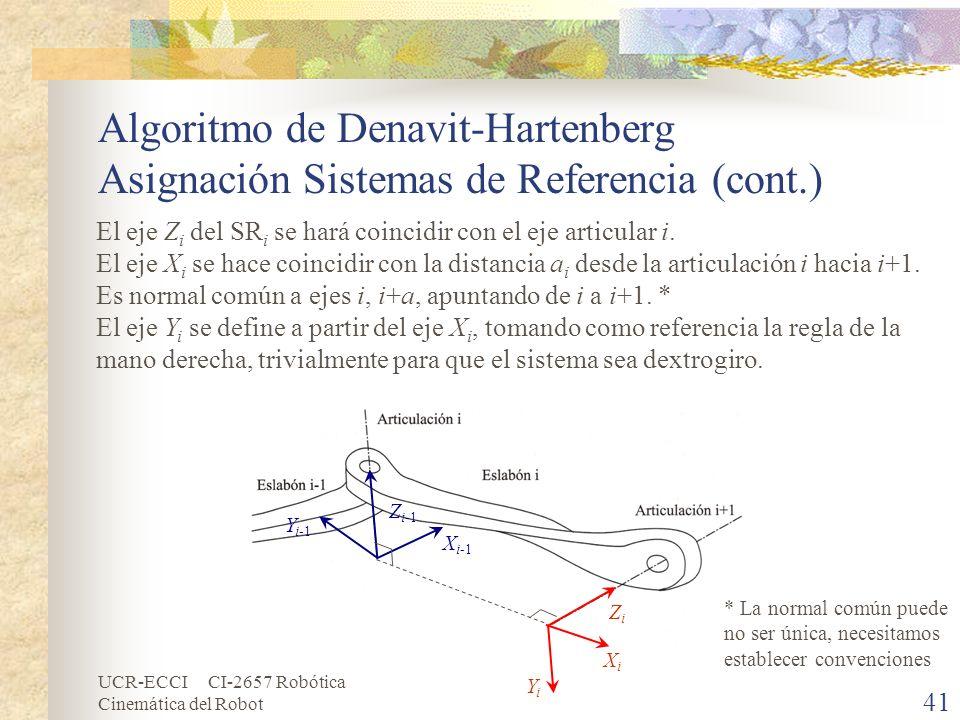 UCR-ECCI CI-2657 Robótica Cinemática del Robot Algoritmo de Denavit-Hartenberg Asignación Sistemas de Referencia (cont.) 41 El eje Z i del SR i se har