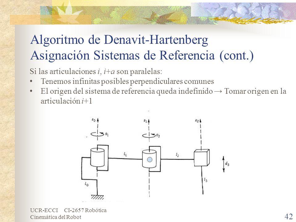 UCR-ECCI CI-2657 Robótica Cinemática del Robot Algoritmo de Denavit-Hartenberg Asignación Sistemas de Referencia (cont.) 42 Si las articulaciones i, i