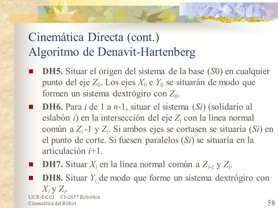 UCR-ECCI CI-2657 Robótica Cinemática del Robot Cinemática Directa (cont.) Algoritmo de Denavit-Hartenberg DH5. Situar el origen del sistema de la base