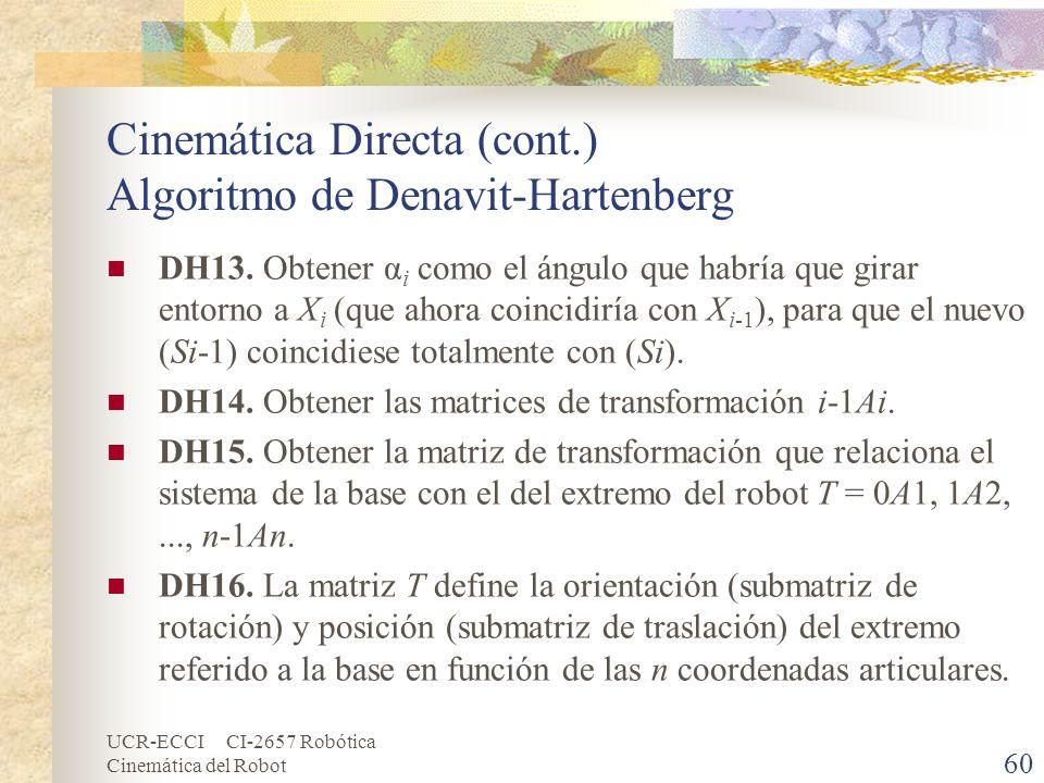UCR-ECCI CI-2657 Robótica Cinemática del Robot Cinemática Directa (cont.) Algoritmo de Denavit-Hartenberg DH13. Obtener α i como el ángulo que habría