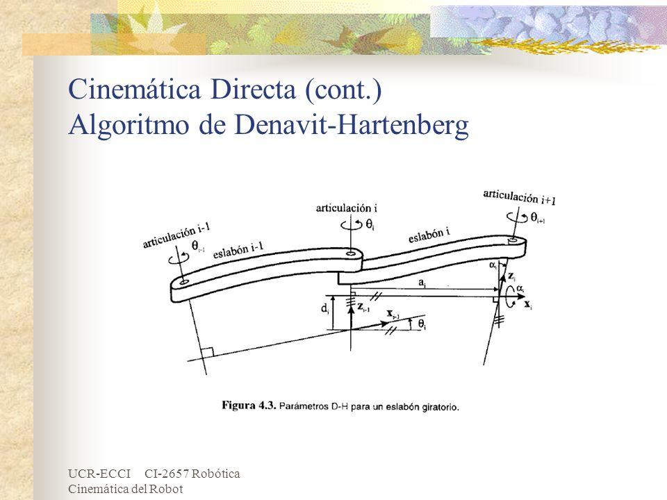 UCR-ECCI CI-2657 Robótica Cinemática del Robot Cinemática Directa (cont.) Algoritmo de Denavit-Hartenberg