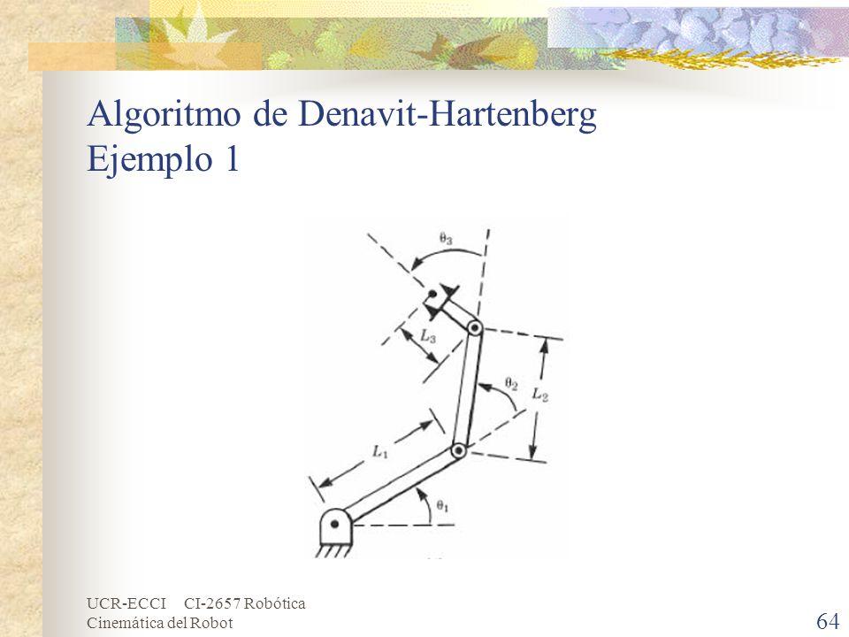 UCR-ECCI CI-2657 Robótica Cinemática del Robot Algoritmo de Denavit-Hartenberg Ejemplo 1 64