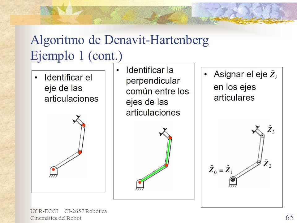 UCR-ECCI CI-2657 Robótica Cinemática del Robot Algoritmo de Denavit-Hartenberg Ejemplo 1 (cont.) 65