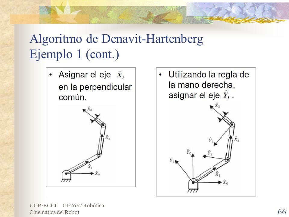 UCR-ECCI CI-2657 Robótica Cinemática del Robot Algoritmo de Denavit-Hartenberg Ejemplo 1 (cont.) 66
