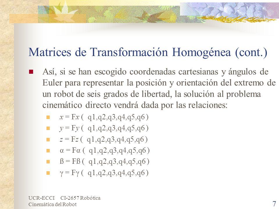 UCR-ECCI CI-2657 Robótica Cinemática del Robot Matrices de Transformación Homogénea (cont.) La obtención de estas relaciones no es en general complicada, siendo incluso en ciertos casos (robots de pocos grados de libertad) fácil de encontrar mediante simples consideraciones geométricas.