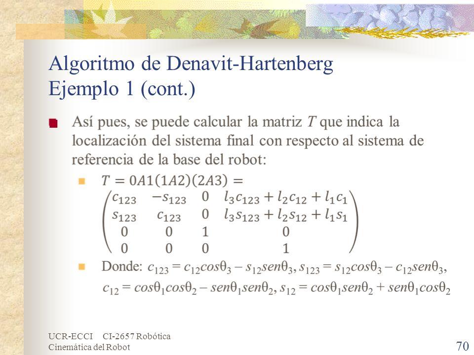 UCR-ECCI CI-2657 Robótica Cinemática del Robot Algoritmo de Denavit-Hartenberg Ejemplo 1 (cont.) 70