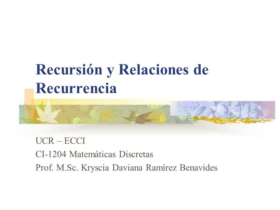 UCR-ECCI CI-1204 Matemáticas Discretas Recursión y Relaciones de Recurrencia 12 Solución General: Relaciones de Recurrencia de Segundo Orden, Lineales, Homogéneas y con Coeficientes Constantes La relación de recurrencia c n+2 a n+2 + c n+1 a n+1 + c n a n = 0, a 0 = A 0, a 1 = A 1, n 0 Donde: c n+2, c n+1 y c n son constantes diferentes de cero.