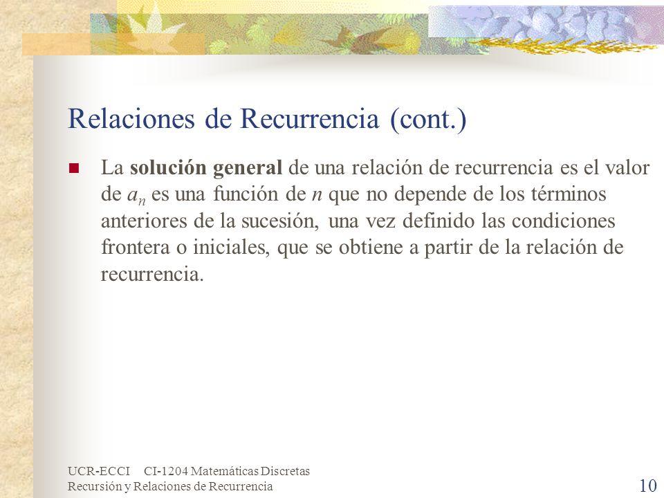 UCR-ECCI CI-1204 Matemáticas Discretas Recursión y Relaciones de Recurrencia 10 Relaciones de Recurrencia (cont.) La solución general de una relación