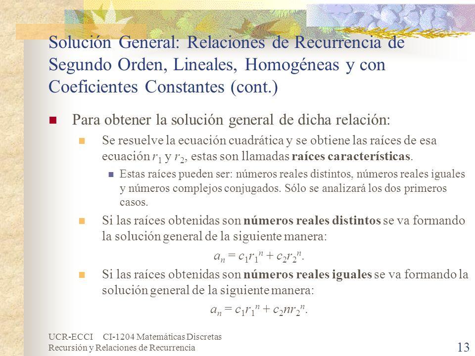 UCR-ECCI CI-1204 Matemáticas Discretas Recursión y Relaciones de Recurrencia 13 Solución General: Relaciones de Recurrencia de Segundo Orden, Lineales
