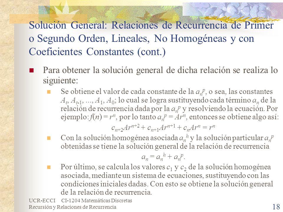 UCR-ECCI CI-1204 Matemáticas Discretas Recursión y Relaciones de Recurrencia 18 Solución General: Relaciones de Recurrencia de Primer o Segundo Orden,