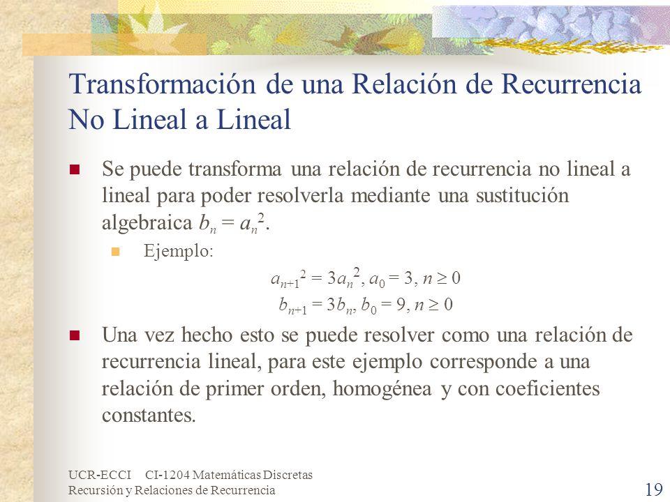 UCR-ECCI CI-1204 Matemáticas Discretas Recursión y Relaciones de Recurrencia 19 Transformación de una Relación de Recurrencia No Lineal a Lineal Se pu